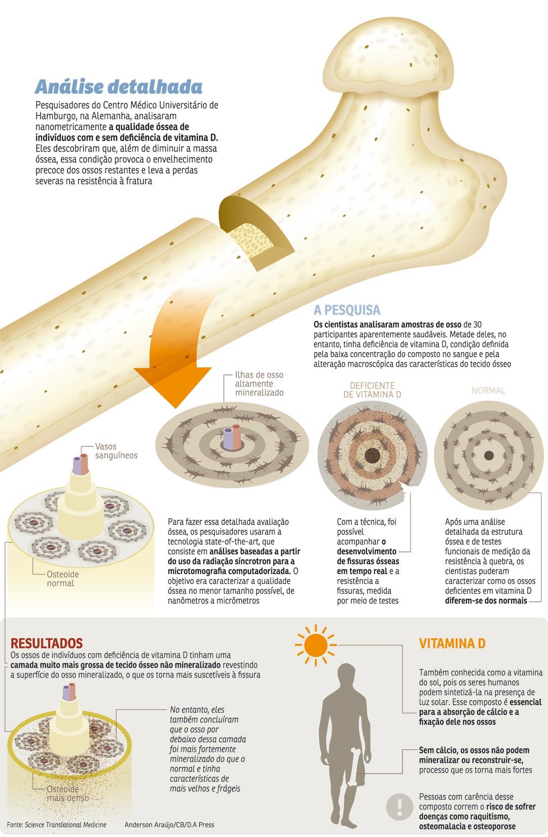 Falta de vitamina D também endurece os ossos